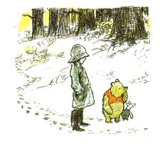 Another great example of the power of Shepard's style. The Hundred Acre wood felt truly endless, even though the characters knew their general neighborhood reasonably well. I remember living in the Northeast when i was young and having a very similar feeling especially when it snowed.