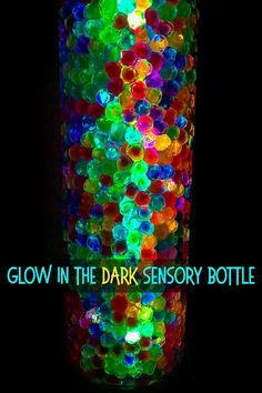 Glowing Sensory Bottle: A Super Magical Glow-in-the Dark Bottle! - - Make a super magical glowing sensory bottle using just two fun, sensory ingredients! A super tool for encouraging kids to observe and discuss visual change. Sensory Bottles Preschool, Glitter Sensory Bottles, Glitter Jars, Sensory Bags, Sensory Activities, Sensory Play, Toddler Activities, Sensory Rooms, Sensory Table