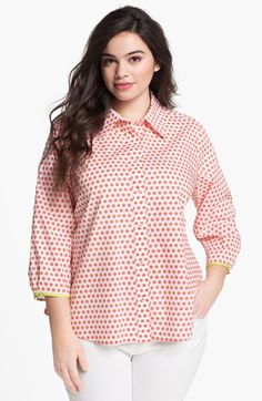 Foxcroft Print Shaped Cotton Shirt (Plus) available at #Nordstrom