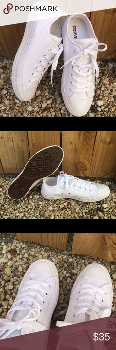 CONVERSE WOMENS SIZE 8 ALL WHITE ✨ All white low top 100% authentic Womens size 8 shoes, in like new condition. Without box. ✨ PRICE IS FIRM! Converse Shoes Sneakers