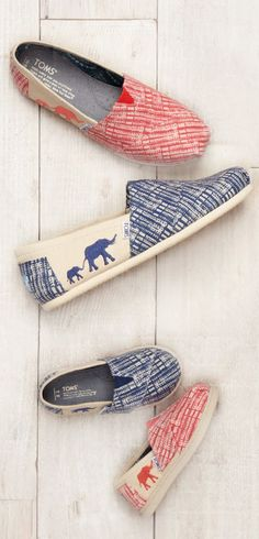 The #TOMS Animal Initiative has teamed up with the @ClintonFdn and the Wildlife Conservation Society. Each purchase of these special edition vegan Classic shoes goes towards protecting wild elephants.