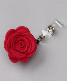 hot pink rose badge clip - how cute! Never lose your badge again.