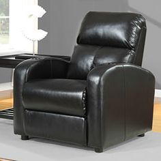 Tracy Black Bonded Leather Recliner overstock.com $379