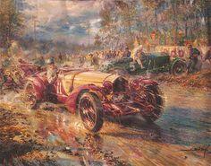 Alfa Romeo Le Mans 1933, Automobilkunst Gemälde von Alfredo De la Maria