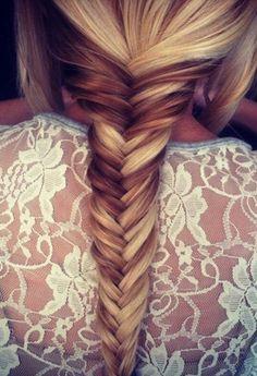 blonde and brunette fishtail braid #hair