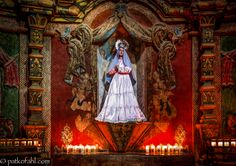 """This shrine is located within Mission San Xavier del Bac, which is also known as the """"White Dove of the Desert,"""" in Tucson Arizona. One of the original Spanish missions, it was founded by Father Eusebio Francisco Kino in 1692. Shrine of the Blessed Virgin Pat Kofahl"""