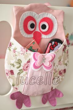 I need this Owl to help organize my sewing table! Owl Sewing, Sewing For Kids, Baby Sewing, Owl Fabric, Fabric Crafts, Sewing Crafts, Owl Patterns, Sewing Patterns, Craft Projects