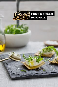 Herbed Ricotta and Arugula Bites by Chef Hugh Acheson. The flavors of NYC ready in a New York minute with Stacy's Pita Chips!