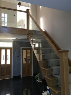 Our Four Oaks Staircase completed, A Replacement staircase was required for a… Loft Railing, Stair Banister, Staircase Landing, House Staircase, Railing Design, Staircase Design, Railings, Wooden Staircases, Wooden Stairs