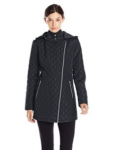 c99858d0355 Jessica Simpson Women s Asymmetrical Zip Quilted Jacket with Hood