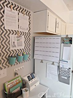 Kitchen organization or command center organization. I spy a DIY chevron bulletin board in here too ; Organization Station, Office Organization, Family Command Center, Command Centers, Konmari, My New Room, Getting Organized, Office Decor, Office Ideas