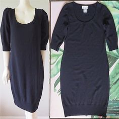 St John Collection knit wool blend dress in navy blue, Knee length, ribbed sleeves and hem, in an excellent condition, no flaws! Wool Blend, Navy Blue, Short Sleeve Dresses, Knitting, Fabric, Sleeves, Collection, Fashion, Tejido