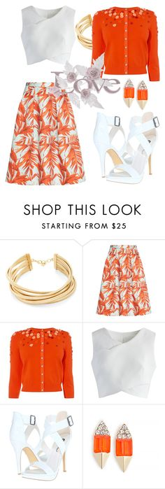 """How to wear floral Skirts."" by mariana-vergara on Polyvore featuring BCBGMAXAZRIA, H&M, Karen Millen, Chicwish, Michael Antonio and Carolyn Colby"