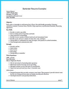 bartenders resume templates and resume on