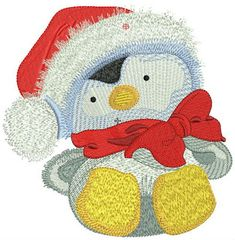 Penguin in Santa hat 3 machine embroidery design. Machine embroidery design. www.embroideres.com #orange #gray #Christmas #winter #cute #holiday #bow #Santa #hat #embroiderydesign #embroideres