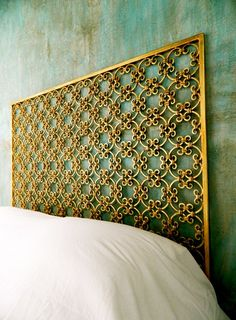 Beautiful elegant featured metal bed head such intrinict detail , golden/brass in colour , reminds me of the detail and features i used alot on my apartment project for the rococo period!