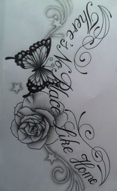 Butterfly Rose chest tattoo design with text by tattoosuzette