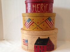 AMERICANA NESTING BOXES  Wooden box set of three by CellarDeals
