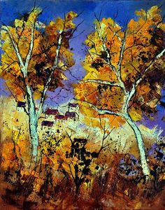 Artwork >> Pol Ledent >> Two trees #artwork, #masterpiece, #painting, #contemporary, #art, #trees, #autumn, #nature