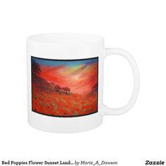 Red Poppies Flower Sunset Landscape Art Painting Coffee Mug
