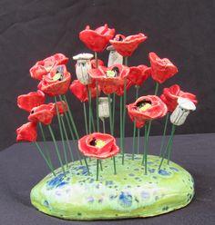 Edith Léon Ceramic poppies, coquelicots en céramique, keramieken klaprozen