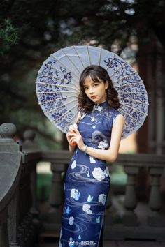 Chinese Gown, Cherry Blossom Japan, Cheongsam Dress, China Girl, Chinese Clothing, Traditional Dresses, Blue Dresses, Beautiful, Character Inspiration