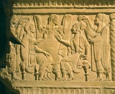 Funeral cippus (stone tablet) depicting a wedding couple, from Chiusi (Tuscany). Etruscan Civilization, 5th Century BC. Artwork-location: Rome, Museo Barracco (Barracco Museum, Archaeological Museum)