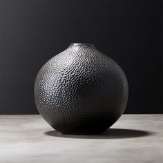 Shop Shagreen Black Vase.  Gourd-like vase with faux embossed sharkskin shagreen makes a chic statement in any room. Watertight for fresh flowers.