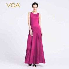 a107a98a7df6e VOA Summer Silk Elegant Ladies Vintage Maxi Dress 2017 Fashion Classic  Purple Sleeveless Tank Women Slim
