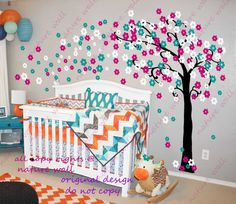 Cherry blossom wall decal tree decal baby nursery kids flower pink room decor nature girl wall decor wall art-Trailing Cherry Blossom Tree on Etsy, $78.00