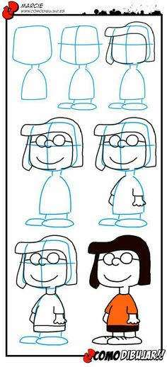 how to draw marcie part of the peanuts gang