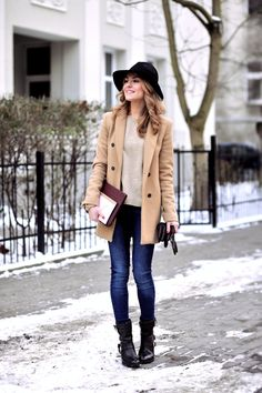 Black Fedora, Camel Day Coat with Oatmeal Colored Sweater, Dark Skinnies and black buckled boots