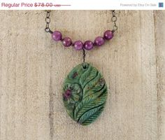 carved stone pendant necklace boho necklace by SharonClancyDesigns,