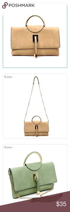 NEW Round Top Handle Clutch Designer inspired handbag NEW Faux vegan leather Magnetic snap & Zip top closure Gold-tone hardware Detachable shoulder strap L 12 * H 7 * W 1 Round Top Handle Clutch: Blush Pink Color Bags Clutches & Wristlets