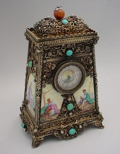 Clock Hourglass Time:  Glorious Antique Austrian Silver Jeweled #Clock Music Box.