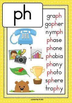 Digraph PH: Phonics Word Work {Multiple Phonograms} by Lavinia Pop Phonics Chart, Phonics Flashcards, Phonics Blends, Alphabet Phonics, Phonics Words, Learning English For Kids, English Worksheets For Kids, English Lessons For Kids, Learn English Words