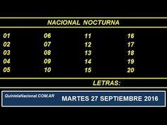 Video Quiniela Nacional Nocturna Martes 27 de Septiembre de 2016 Pizarra del sorteo desarrollado en el recinto de Loteria Nacional a las 21:00