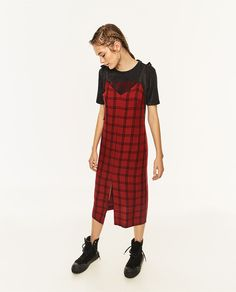 Image 1 of LONG CHECK DRESS from Zara