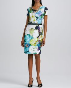 Kay Unger New York Cowl-Neck Printed Dress - Neiman Marcus