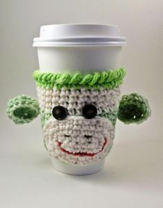 Coffee cozy - sock monkey. Debbie needs to start making these! Who can't use a coffee cozy!?