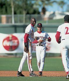 Michael Jordan smiles alongside top prospect and Scottsdale teammate Nomar Garciaparra during the Arizona Fall League in Nov. 1994. Jordan retired from baseball 20 years ago today. (V.J. Lovero/SI)GALLERY: Michael Jordan: Ballplayer