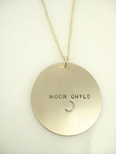For Every Moon Child. // Large Hand Stamped Necklace. Click through to shop now at James Michelle #HandmadeJewelry #HandStampedJewelry