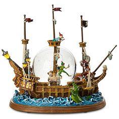 Disney Snow Globe - Jolly Roger Ship - Peter Pan