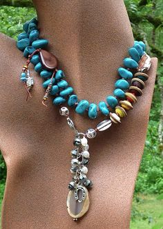 """MONTANA Untamed """"Big Sky"""": turquoise, lamp work beads by Outwest, agate, glass--all hand-knotted on waxed cord by Toni McCarthy"""