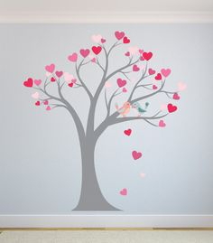 Wall Decal Tree with Pink Hearts Nursery wall by BellaDecalDesigns