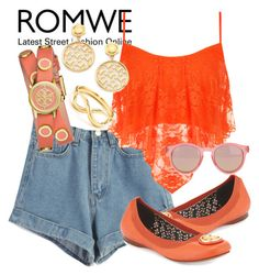 """""""ROMWE"""" by deedee-pekarik ❤ liked on Polyvore featuring WearAll, Tory Burch, Le Specs, ToryBurch, orange and romwe"""