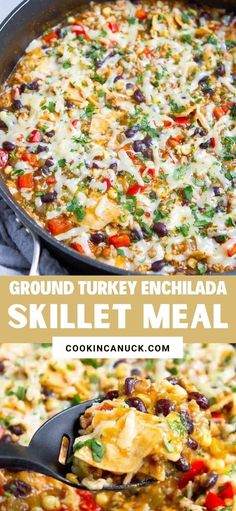 This one-pot Ground Turkey Enchilada Skillet Meal got rave reviews all around from my family. This will be a regular at our dinner table, for sure! 375 calories and 6 Weight Watchers SP | Healthy | Recipe | Easy | One Pot | One Pan | Green #groundturkey #enchiladas #onepotmeal #onepanmeal #healthydinners #wwrecipes #smartpoints Top Recipes, Turkey Recipes, Mexican Food Recipes, Heart Healthy Recipes, Delicious Recipes, Ground Turkey Enchiladas, One Pot Meals, Easy Meals, Weeknight Recipes