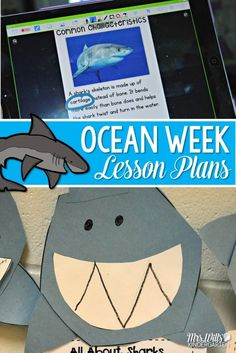 Ocean week lesson plans for kindergarten include reading, writing, and math. Students learn all about sharks and other ocean animals. Math centers and literacy centers with an ocean theme too! #ocean_crafts_lesson_plans
