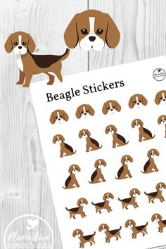 Pet Beagle Stickers - Plannerlove & Printables Your beagle is such a rascal, but you love him anyway. Now he can stick his nose in your planner without smearing the ink! Printable Stickers, Printable Planner, Planner Stickers, Printables, Free Planner, Free Printable, Smartest Dogs, Pet Dogs, Pets