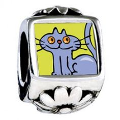 British Shorthair Cat Photo Flower Charms  Fit pandora,trollbeads,chamilia,biagi,soufeel and any customized bracelet/necklaces. #Jewelry #Fashion #Silver# handcraft #DIY #Accessory